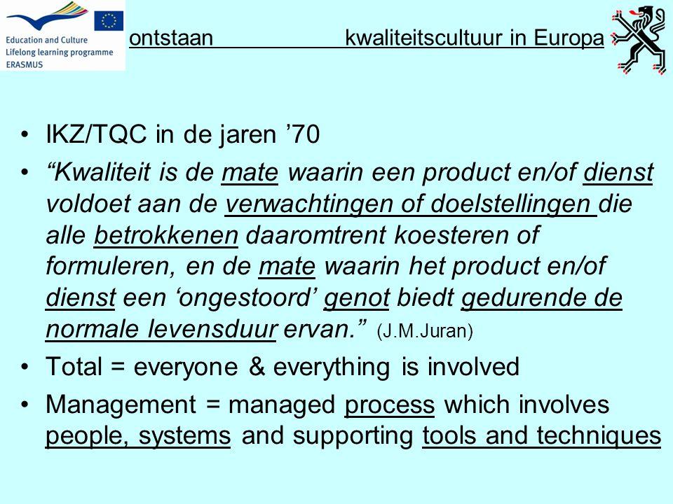 """ontstaan kwaliteitscultuur in Europa •IKZ/TQC in de jaren '70 •""""Kwaliteit is de mate waarin een product en/of dienst voldoet aan de verwachtingen of d"""