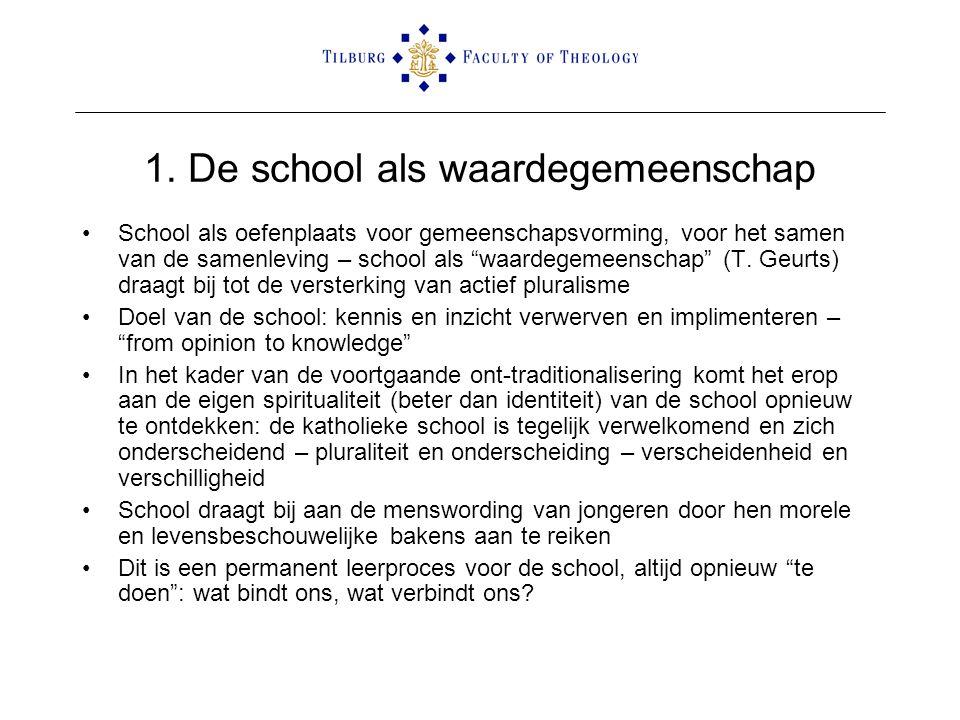 """1. De school als waardegemeenschap •School als oefenplaats voor gemeenschapsvorming, voor het samen van de samenleving – school als """"waardegemeenschap"""