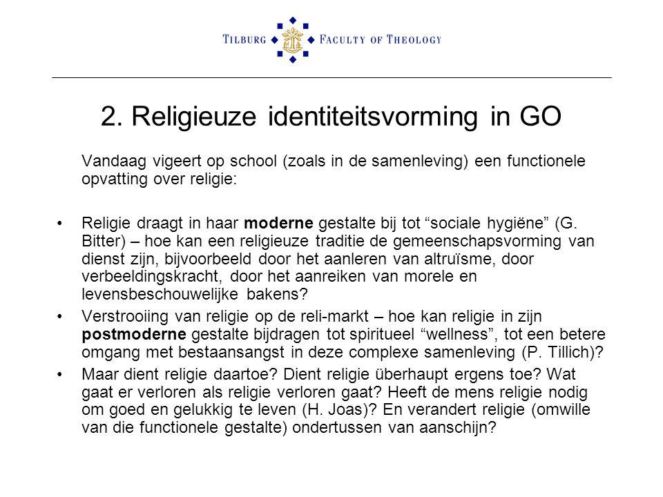 2. Religieuze identiteitsvorming in GO Vandaag vigeert op school (zoals in de samenleving) een functionele opvatting over religie: •Religie draagt in