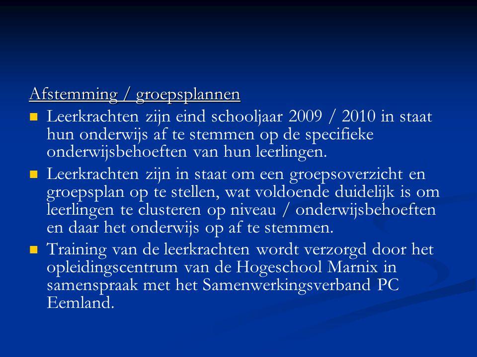 Afstemming / groepsplannen   Leerkrachten zijn eind schooljaar 2009 / 2010 in staat hun onderwijs af te stemmen op de specifieke onderwijsbehoeften van hun leerlingen.