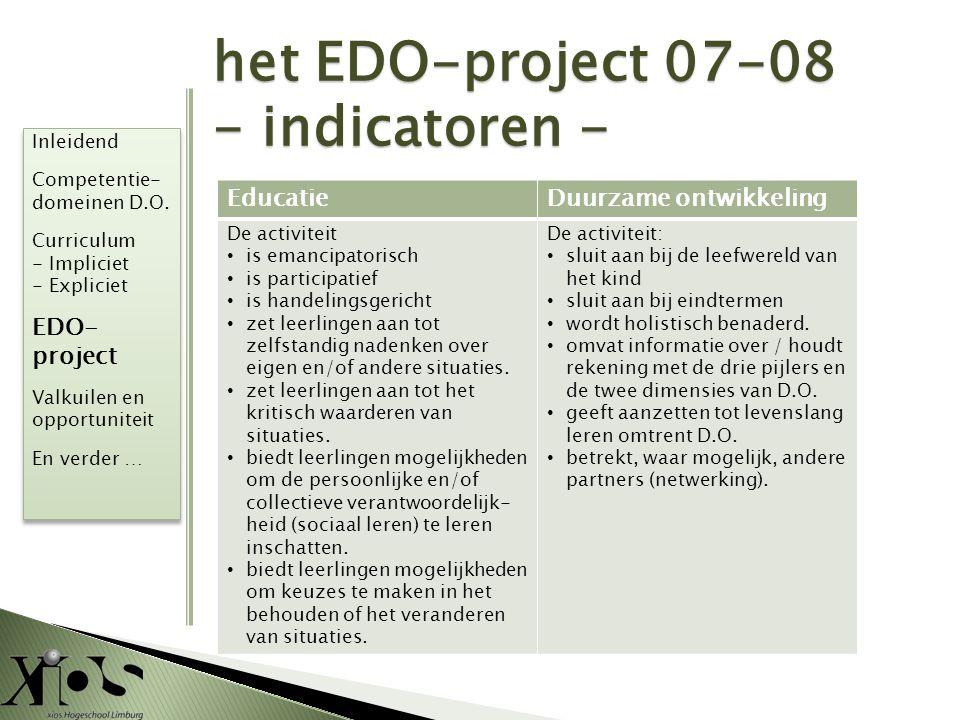 het EDO-project 07-08 - indicatoren - EducatieDuurzame ontwikkeling De activiteit • is emancipatorisch • is participatief • is handelingsgericht • zet