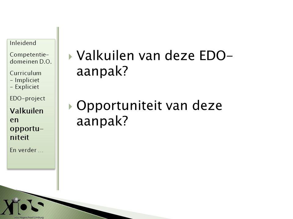  Valkuilen van deze EDO- aanpak?  Opportuniteit van deze aanpak? Inleidend Competentie- domeinen D.O. Curriculum - Impliciet - Expliciet EDO-project
