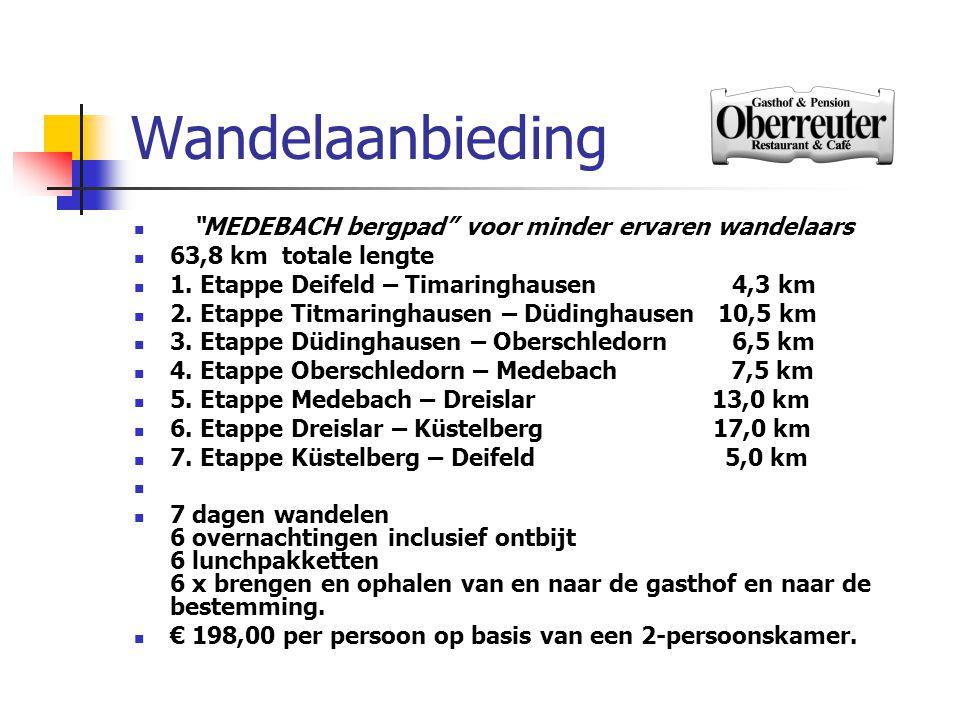 """Wandelaanbieding  """"MEDEBACH bergpad"""" voor minder ervaren wandelaars  63,8 km totale lengte  1. Etappe Deifeld – Timaringhausen 4,3 km  2. Etappe T"""