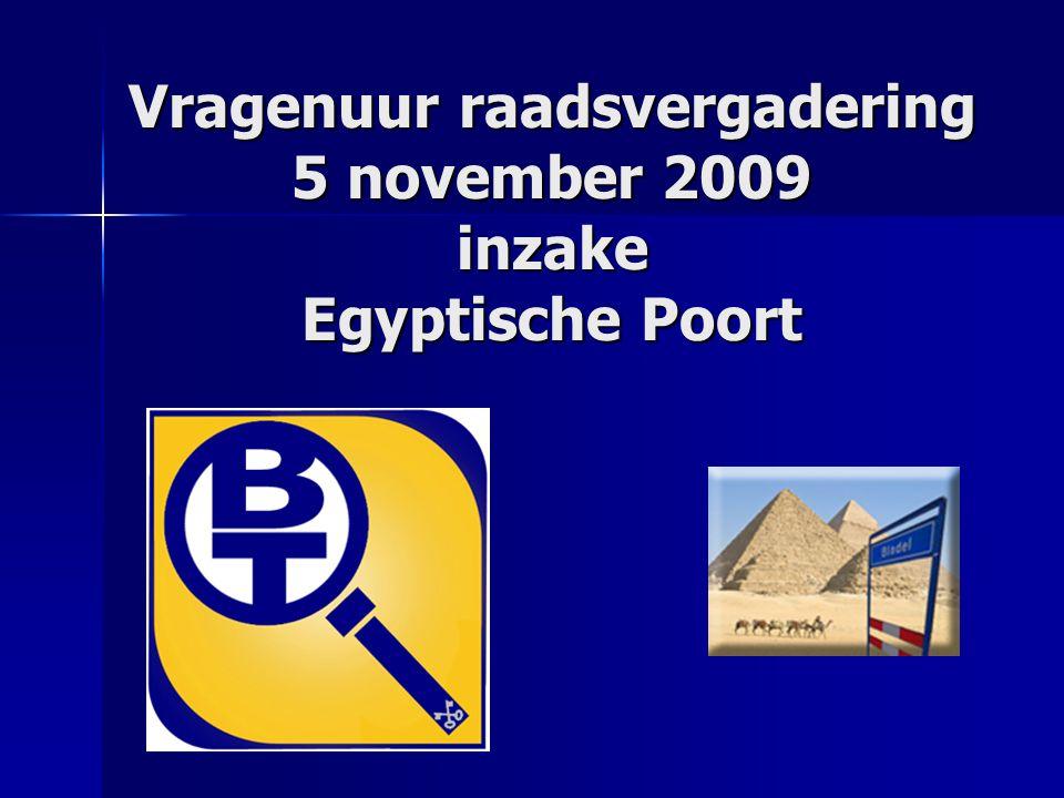 Vragenuur raadsvergadering 5 november 2009 inzake Egyptische Poort
