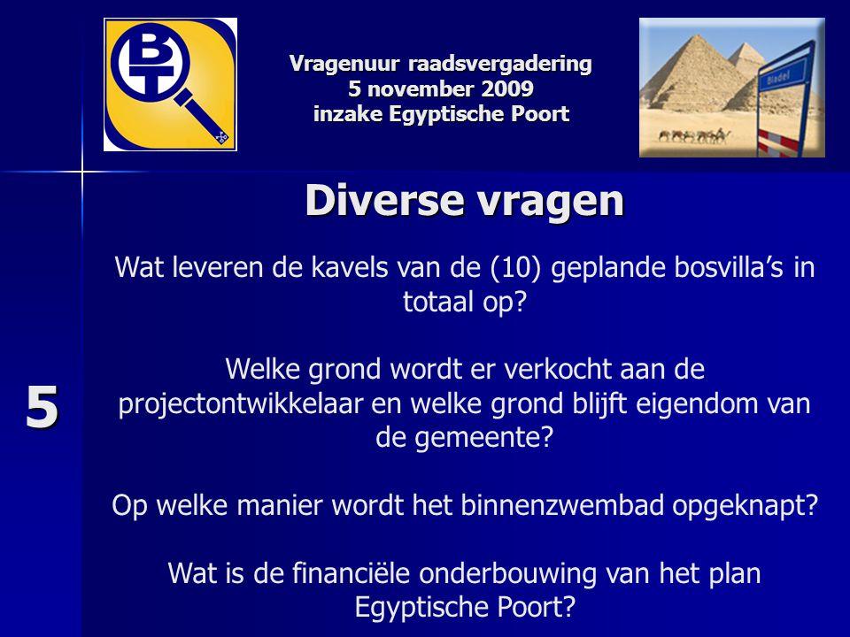 Vragenuur raadsvergadering 5 november 2009 inzake Egyptische Poort Diverse vragen Diverse vragen Wat leveren de kavels van de (10) geplande bosvilla's
