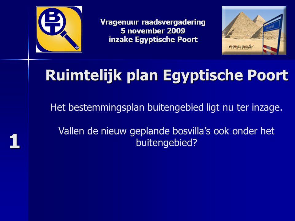 1 Ruimtelijk plan Egyptische Poort Het bestemmingsplan buitengebied ligt nu ter inzage. Vallen de nieuw geplande bosvilla's ook onder het buitengebied