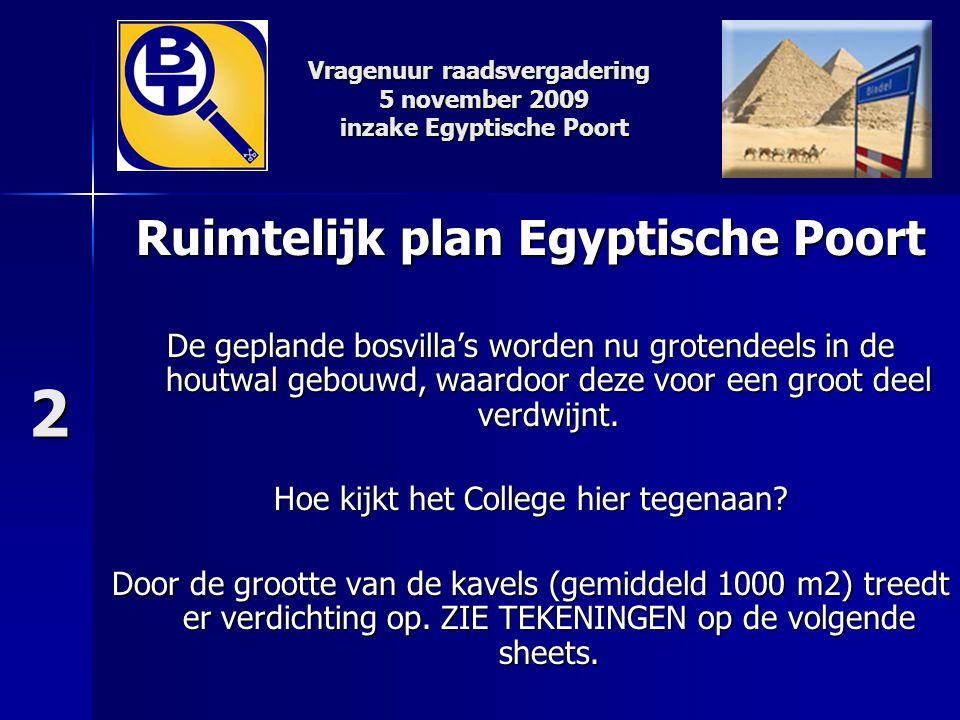 Ruimtelijk plan Egyptische Poort De geplande bosvilla's worden nu grotendeels in de houtwal gebouwd, waardoor deze voor een groot deel verdwijnt. Hoe