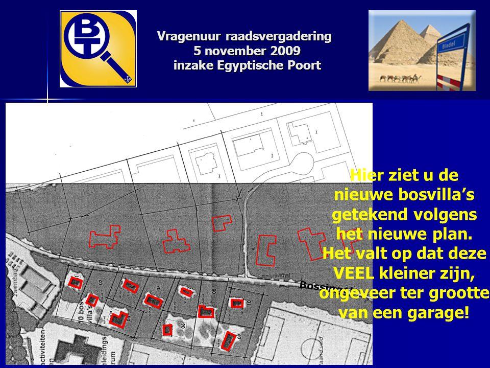 Vragenuur raadsvergadering 5 november 2009 inzake Egyptische Poort Hier ziet u de nieuwe bosvilla's getekend volgens het nieuwe plan. Het valt op dat