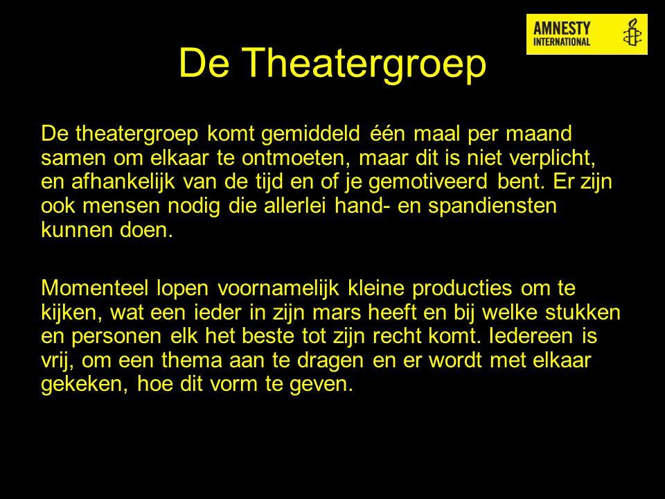 De Theatergroep De theatergroep komt gemiddeld één maal per maand samen om elkaar te ontmoeten, maar dit is niet verplicht, en afhankelijk van de tijd