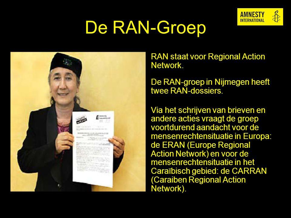 De RAN-Groep RAN staat voor Regional Action Network. De RAN-groep in Nijmegen heeft twee RAN-dossiers. Via het schrijven van brieven en andere acties
