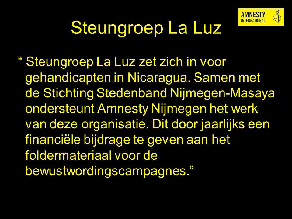 """Steungroep La Luz """" Steungroep La Luz zet zich in voor gehandicapten in Nicaragua. Samen met de Stichting Stedenband Nijmegen-Masaya ondersteunt Amnes"""