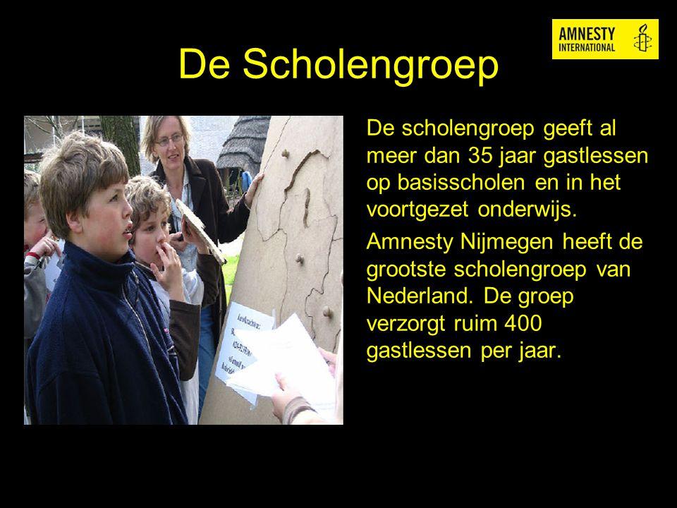De Scholengroep De scholengroep geeft al meer dan 35 jaar gastlessen op basisscholen en in het voortgezet onderwijs. Amnesty Nijmegen heeft de grootst