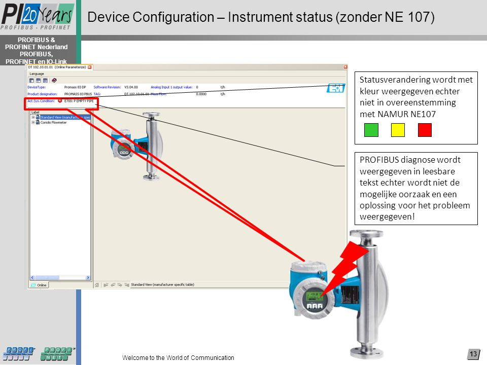 13 Welcome to the World of Communication PROFIBUS & PROFINET Nederland PROFIBUS, PROFINET en IO-Link Device Configuration – Instrument status (zonder NE 107) PROFIBUS diagnose wordt weergegeven in leesbare tekst echter wordt niet de mogelijke oorzaak en een oplossing voor het probleem weergegeven.