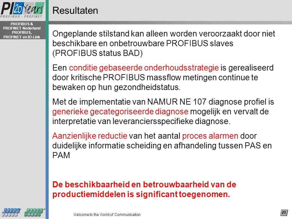 20 Welcome to the World of Communication PROFIBUS & PROFINET Nederland PROFIBUS, PROFINET en IO-Link Resultaten Ongeplande stilstand kan alleen worden veroorzaakt door niet beschikbare en onbetrouwbare PROFIBUS slaves (PROFIBUS status BAD) Een conditie gebaseerde onderhoudsstrategie is gerealiseerd door kritische PROFIBUS massflow metingen continue te bewaken op hun gezondheidstatus.