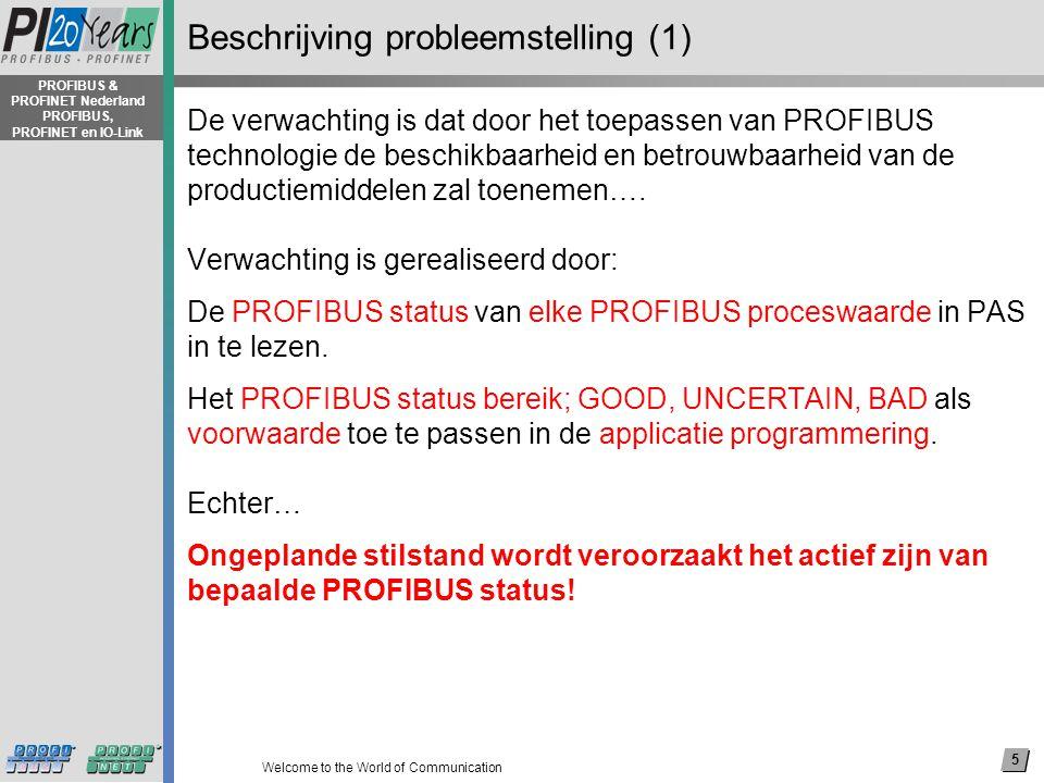 5 Welcome to the World of Communication PROFIBUS & PROFINET Nederland PROFIBUS, PROFINET en IO-Link Beschrijving probleemstelling (1) De verwachting is dat door het toepassen van PROFIBUS technologie de beschikbaarheid en betrouwbaarheid van de productiemiddelen zal toenemen….
