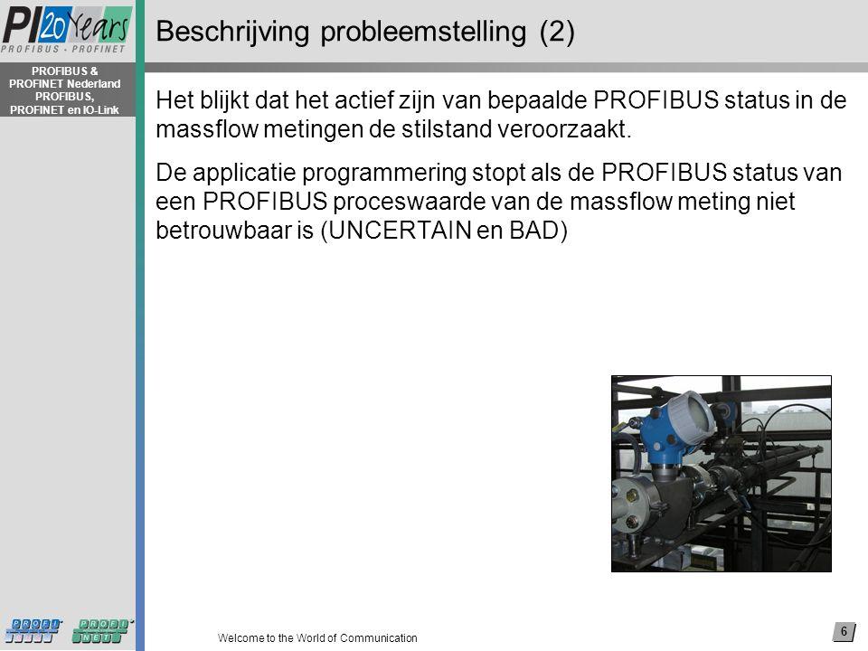 7 Welcome to the World of Communication PROFIBUS & PROFINET Nederland PROFIBUS, PROFINET en IO-Link Mogelijke oplossingen voor ongeplande stilstand Applicatie programmering stopt alleen bij (leveranciers) specifieke gedefinieerde PROFIBUS status.