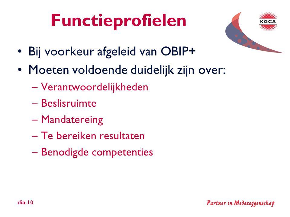 Functieprofielen •Bij voorkeur afgeleid van OBIP+ •Moeten voldoende duidelijk zijn over: –Verantwoordelijkheden –Beslisruimte –Mandatereing –Te bereik