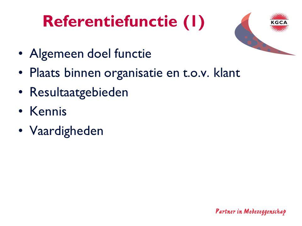Referentiefunctie (1) •Algemeen doel functie •Plaats binnen organisatie en t.o.v. klant •Resultaatgebieden •Kennis •Vaardigheden