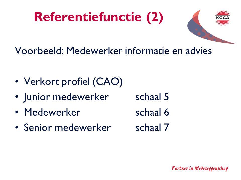 Referentiefunctie (2) Voorbeeld: Medewerker informatie en advies •Verkort profiel (CAO) •Junior medewerker schaal 5 •Medewerkerschaal 6 •Senior medewe