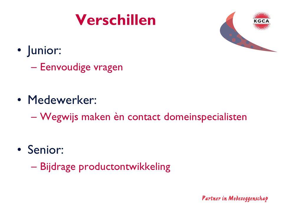 Verschillen •Junior: –Eenvoudige vragen •Medewerker: –Wegwijs maken èn contact domeinspecialisten •Senior: –Bijdrage productontwikkeling
