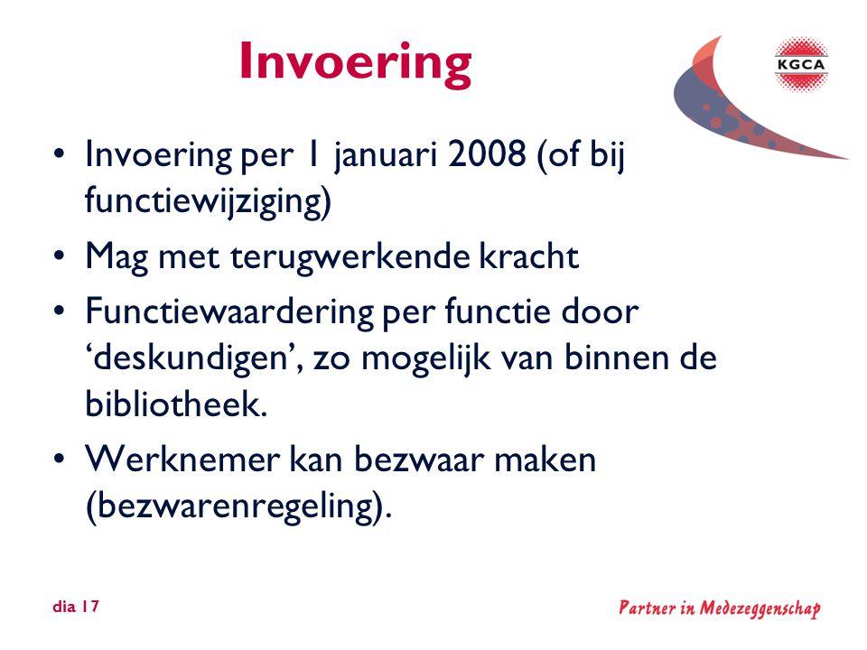 Invoering •Invoering per 1 januari 2008 (of bij functiewijziging) •Mag met terugwerkende kracht •Functiewaardering per functie door 'deskundigen', zo