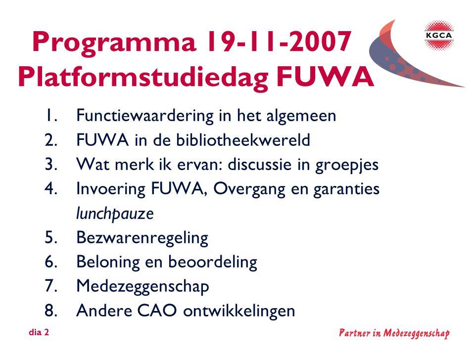 Programma 19-11-2007 Platformstudiedag FUWA 1.Functiewaardering in het algemeen 2.FUWA in de bibliotheekwereld 3.Wat merk ik ervan: discussie in groep