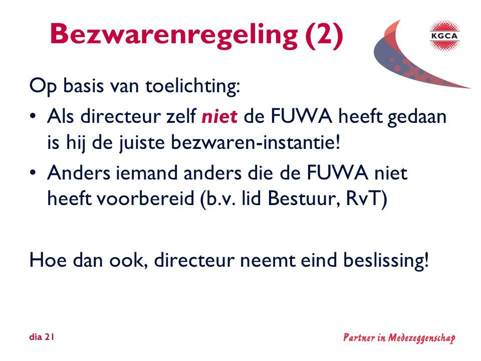 Bezwarenregeling (2) Op basis van toelichting: •Als directeur zelf niet de FUWA heeft gedaan is hij de juiste bezwaren-instantie! •Anders iemand ander