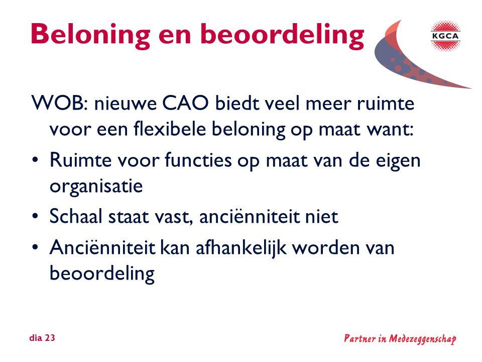 Beloning en beoordeling WOB: nieuwe CAO biedt veel meer ruimte voor een flexibele beloning op maat want: •Ruimte voor functies op maat van de eigen or