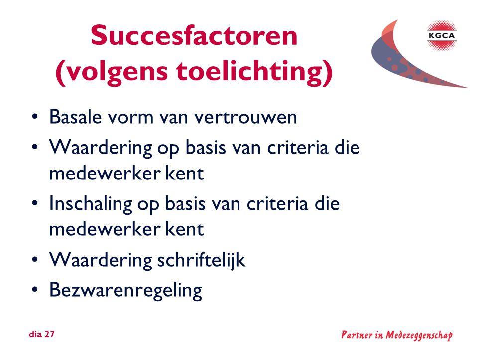 Succesfactoren (volgens toelichting) •Basale vorm van vertrouwen •Waardering op basis van criteria die medewerker kent •Inschaling op basis van criter