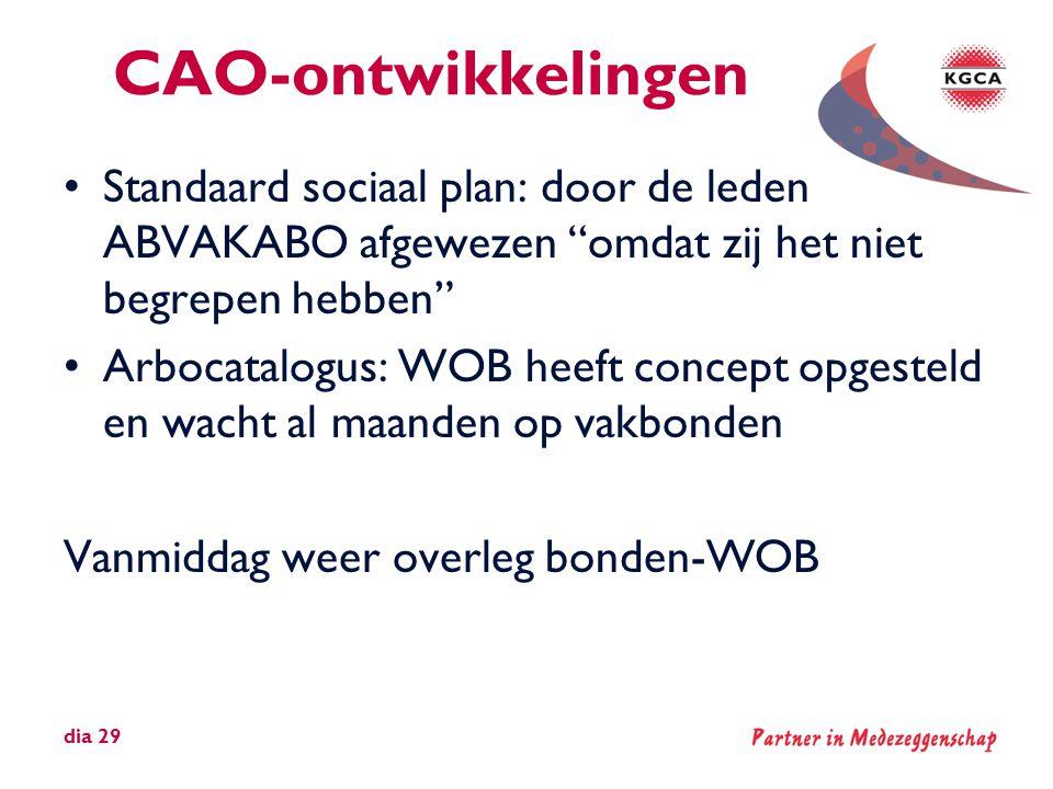 """CAO-ontwikkelingen •Standaard sociaal plan: door de leden ABVAKABO afgewezen """"omdat zij het niet begrepen hebben"""" •Arbocatalogus: WOB heeft concept op"""