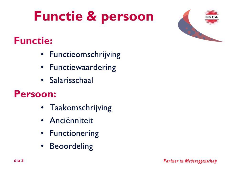 Functie & persoon Functie: •Functieomschrijving •Functiewaardering •Salarisschaal Persoon: •Taakomschrijving •Anciënniteit •Functionering •Beoordeling