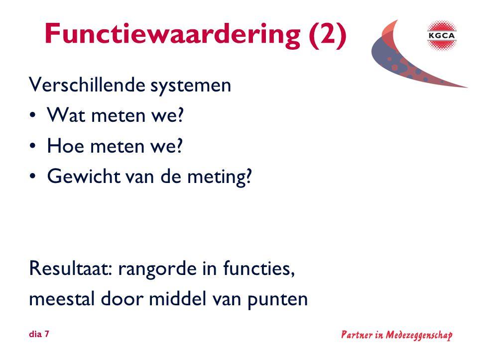 Functiewaardering (2) Verschillende systemen •Wat meten we? •Hoe meten we? •Gewicht van de meting? Resultaat: rangorde in functies, meestal door midde