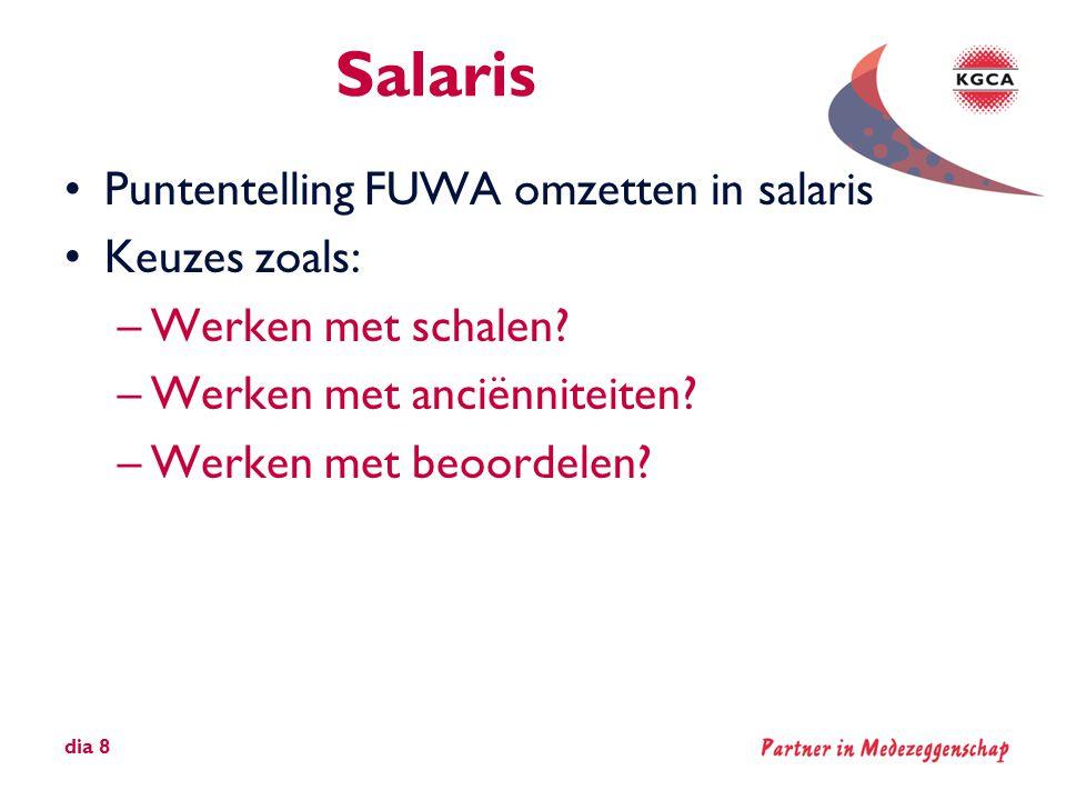 Salaris •Puntentelling FUWA omzetten in salaris •Keuzes zoals: –Werken met schalen? –Werken met anciënniteiten? –Werken met beoordelen? dia 8