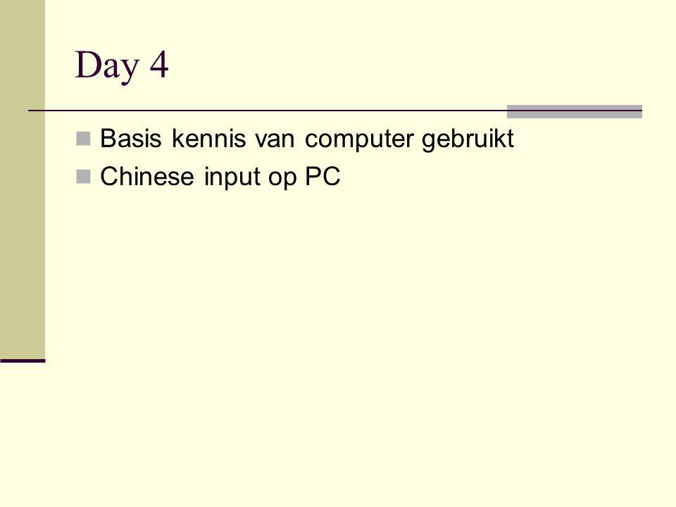 Day 4  Basis kennis van computer gebruikt  Chinese input op PC