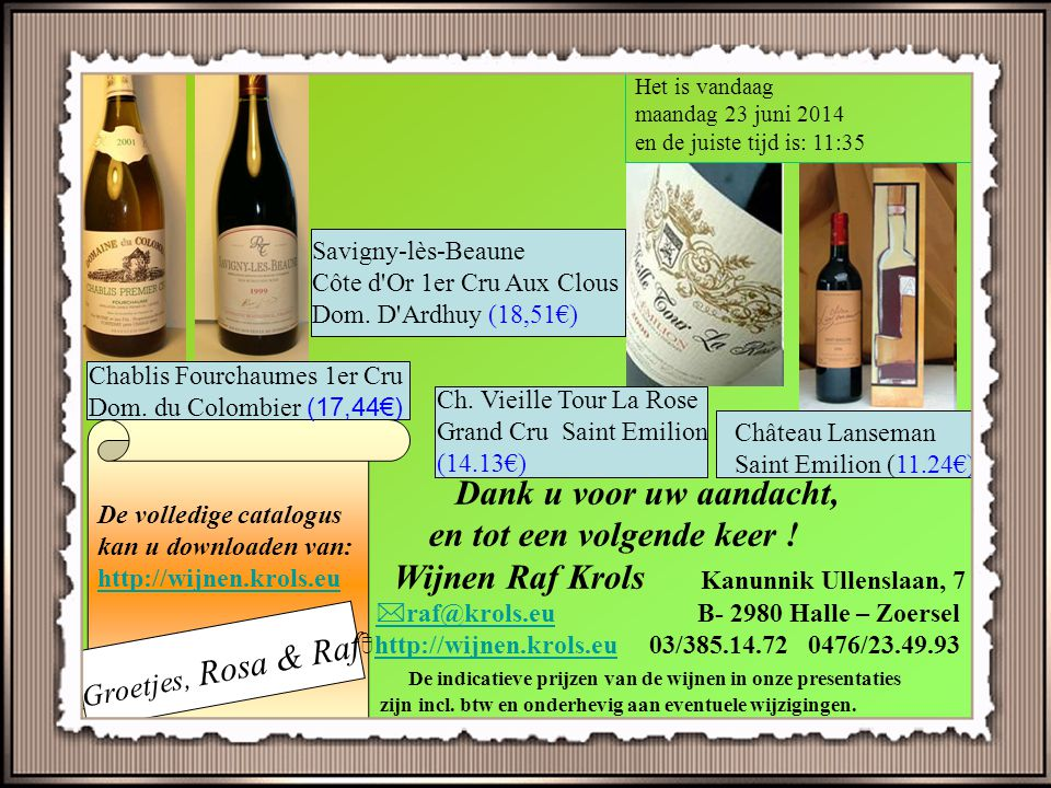 "Nieuws !!! ""Page last updated at 14:35 GMT, Friday, 20 March 2009 By Julian Joyce BBC News World's oldest champagne opened"" 's Werelds oudste champagn"