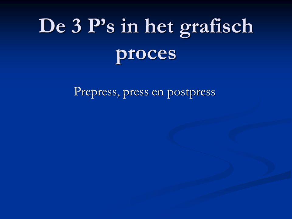 De 3 P's in het grafisch proces Prepress, press en postpress Een presentatie over de verschillende productiestadia