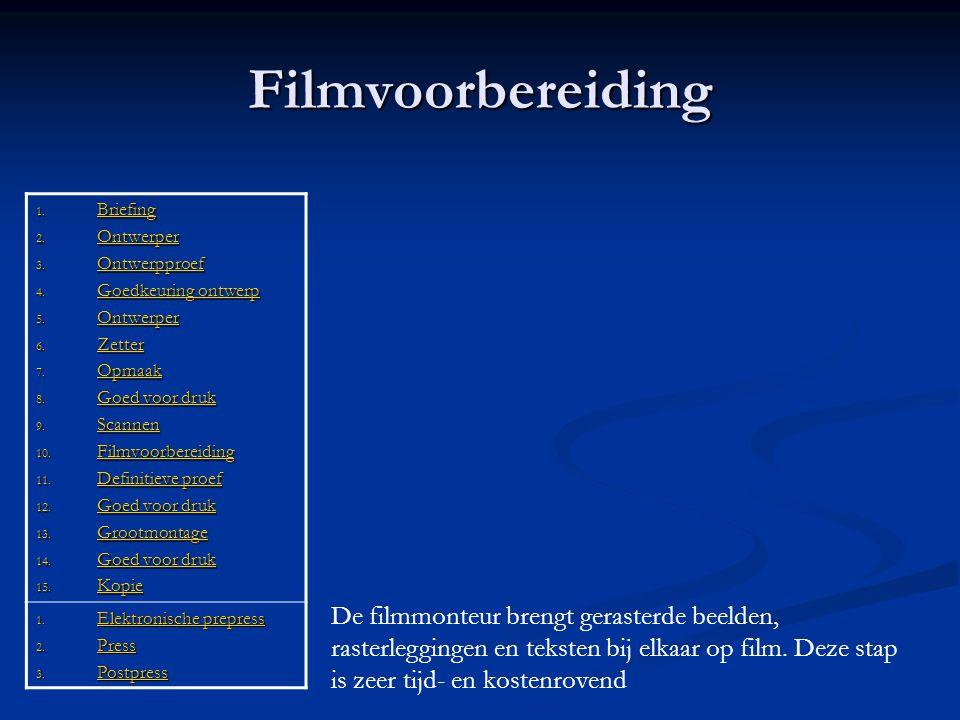 Filmvoorbereiding 1. Briefing Briefing 2. Ontwerper Ontwerper 3. Ontwerpproef Ontwerpproef 4. Goedkeuring ontwerp Goedkeuring ontwerpGoedkeuring ontwe