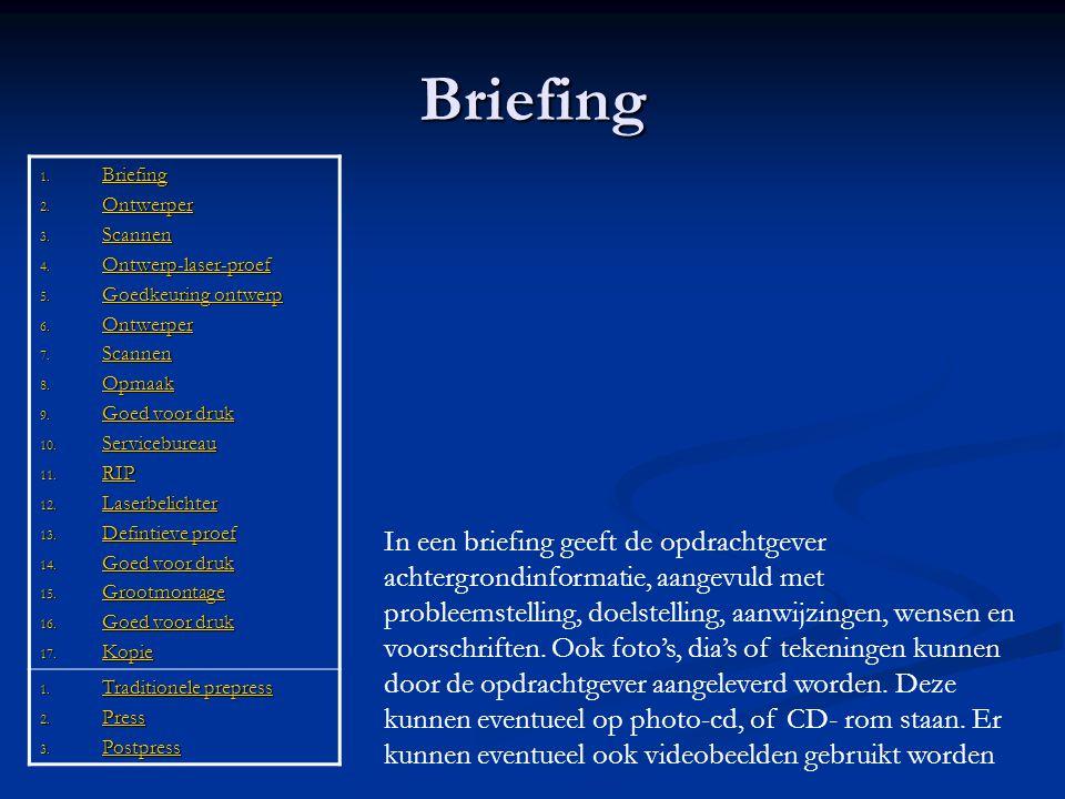 Briefing 1. Briefing Briefing 2. Ontwerper Ontwerper 3. Scannen Scannen 4. Ontwerp-laser-proef Ontwerp-laser-proef 5. Goedkeuring ontwerp Goedkeuring