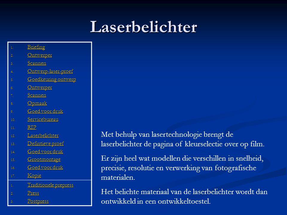 Laserbelichter 1. Briefing Briefing 2. Ontwerper Ontwerper 3. Scannen Scannen 4. Ontwerp-laser-proef Ontwerp-laser-proef 5. Goedkeuring ontwerp Goedke