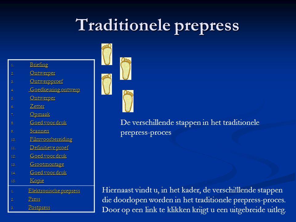 Traditionele prepress 1. Briefing Briefing 2. Ontwerper Ontwerper 3. Ontwerpproef Ontwerpproef 4. Goedkeuring ontwerp Goedkeuring ontwerp Goedkeuring