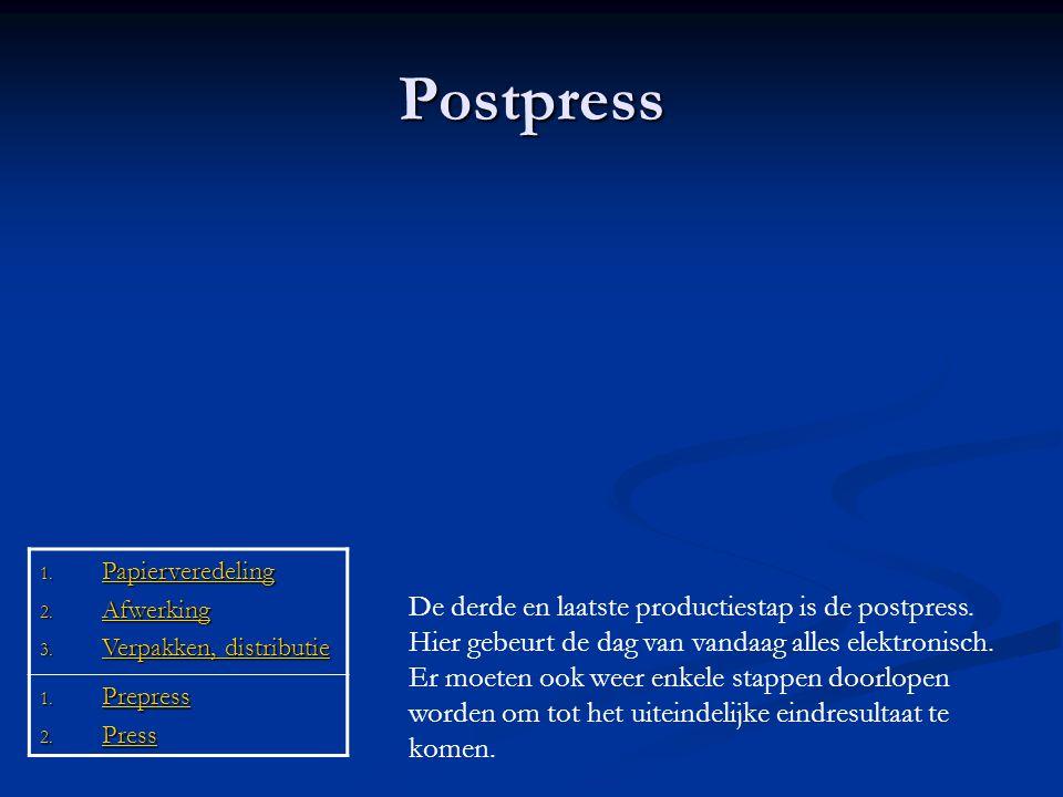 Postpress De derde en laatste productiestap is de postpress. Hier gebeurt de dag van vandaag alles elektronisch. Er moeten ook weer enkele stappen doo