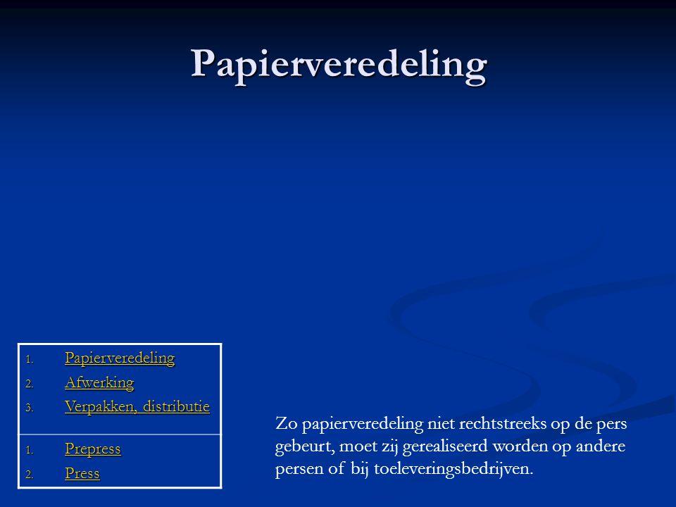 Papierveredeling 1. Papierveredeling Papierveredeling 2. Afwerking Afwerking 3. Verpakken, distributie Verpakken, distributie Verpakken, distributie 1