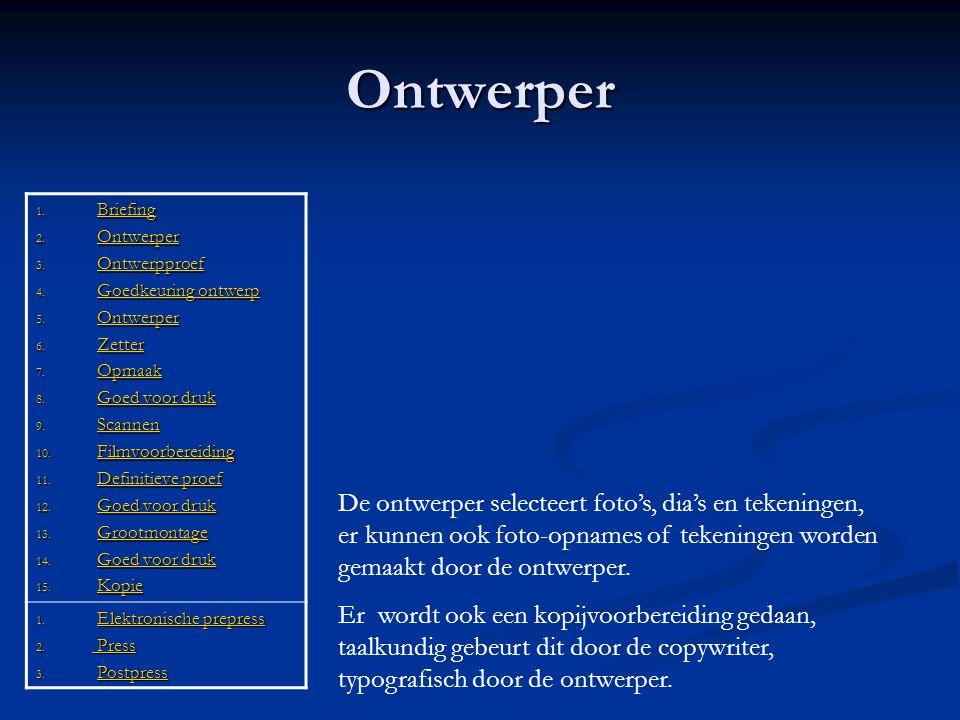 Elektronische prepress 1.Briefing Briefing 2. Ontwerper Ontwerper 3.
