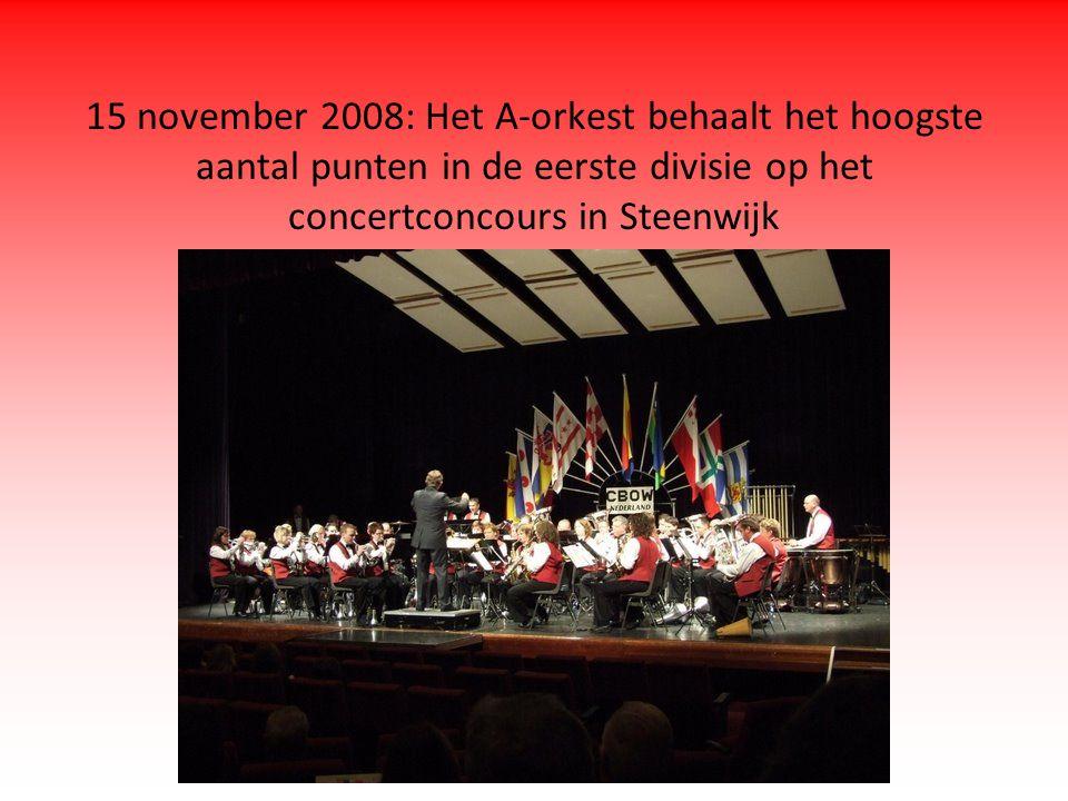 15 november 2008: Het A-orkest behaalt het hoogste aantal punten in de eerste divisie op het concertconcours in Steenwijk