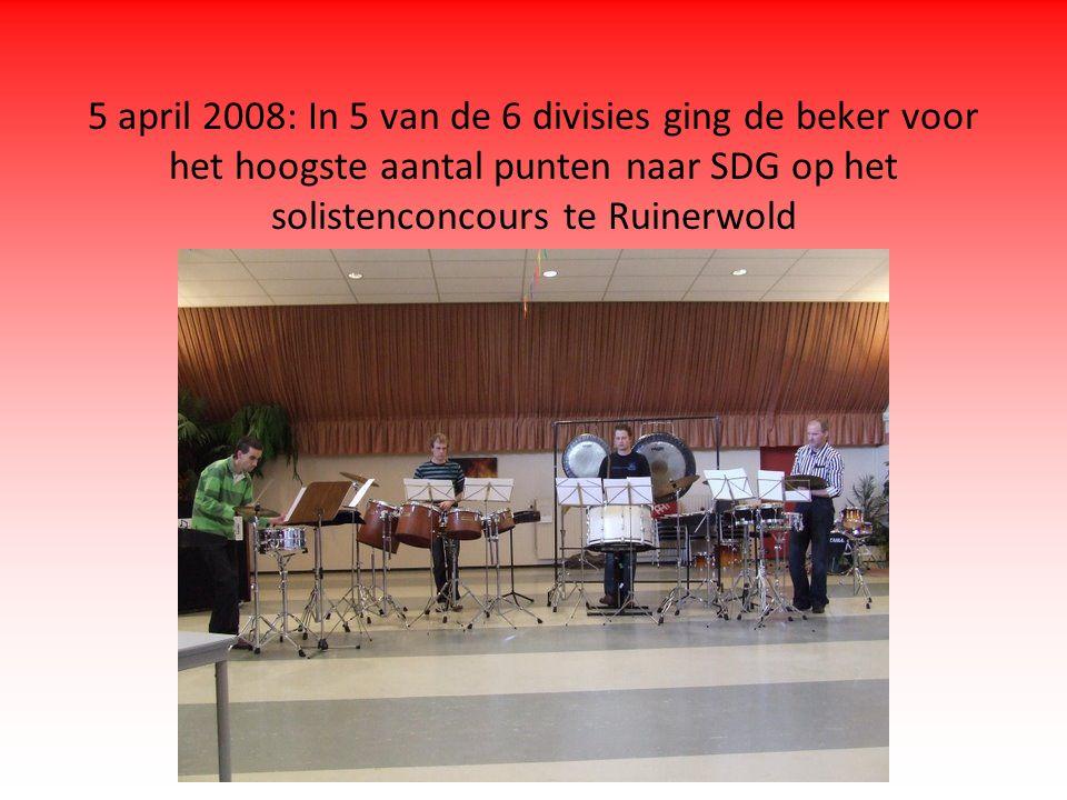 5 april 2008: In 5 van de 6 divisies ging de beker voor het hoogste aantal punten naar SDG op het solistenconcours te Ruinerwold