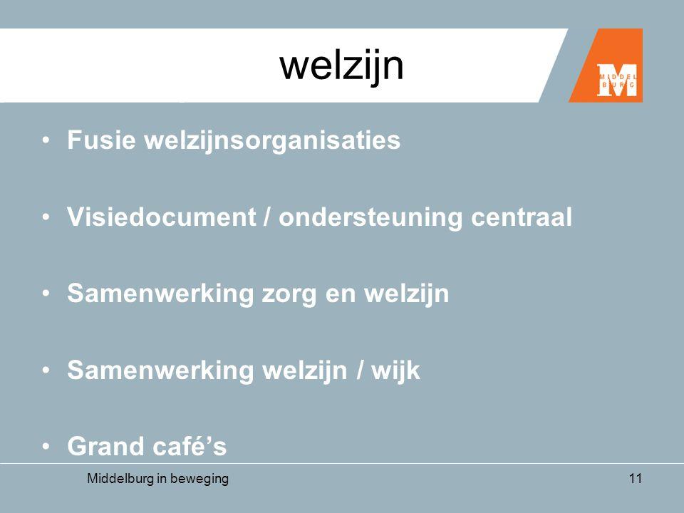 Middelburg in beweging11 welzijn •Fusie welzijnsorganisaties •Visiedocument / ondersteuning centraal •Samenwerking zorg en welzijn •Samenwerking welzijn / wijk •Grand café's