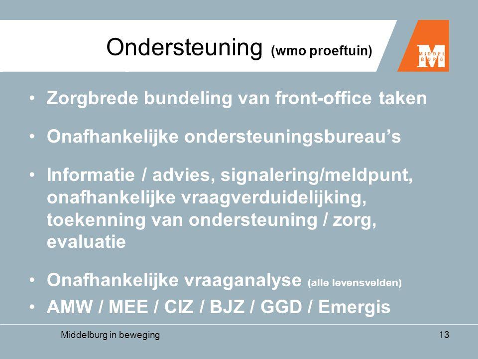 Middelburg in beweging13 Ondersteuning (wmo proeftuin) •Zorgbrede bundeling van front-office taken •Onafhankelijke ondersteuningsbureau's •Informatie / advies, signalering/meldpunt, onafhankelijke vraagverduidelijking, toekenning van ondersteuning / zorg, evaluatie •Onafhankelijke vraaganalyse (alle levensvelden) •AMW / MEE / CIZ / BJZ / GGD / Emergis