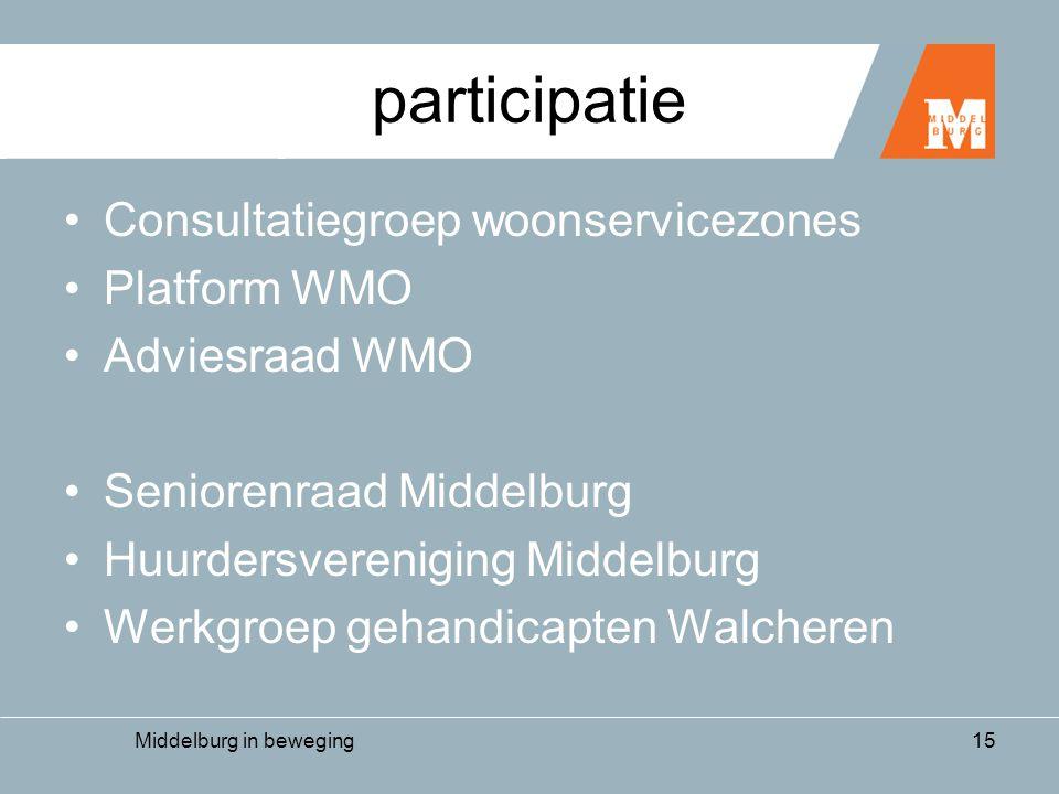 Middelburg in beweging15 participatie •Consultatiegroep woonservicezones •Platform WMO •Adviesraad WMO •Seniorenraad Middelburg •Huurdersvereniging Middelburg •Werkgroep gehandicapten Walcheren