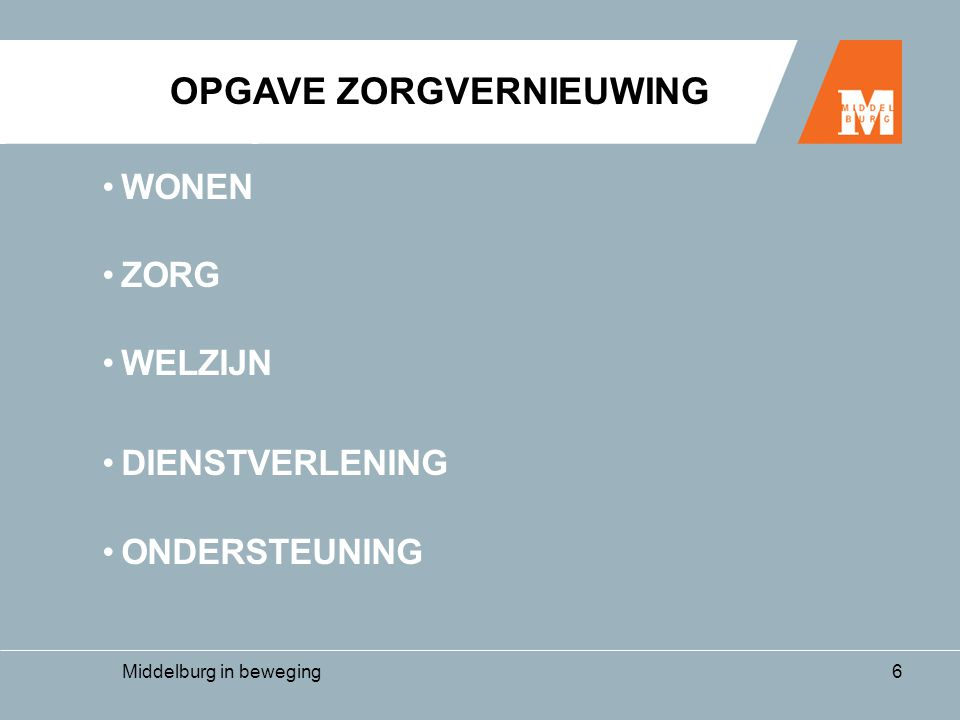Middelburg in beweging17 aandachtspunten •Scheiden wonen en zorg •Beleidsregel Zorginfrastructuur •College Sanering •Regeling diensten bij wonen met zorg •Aanloopkosten Zorg •Financiering Zorg