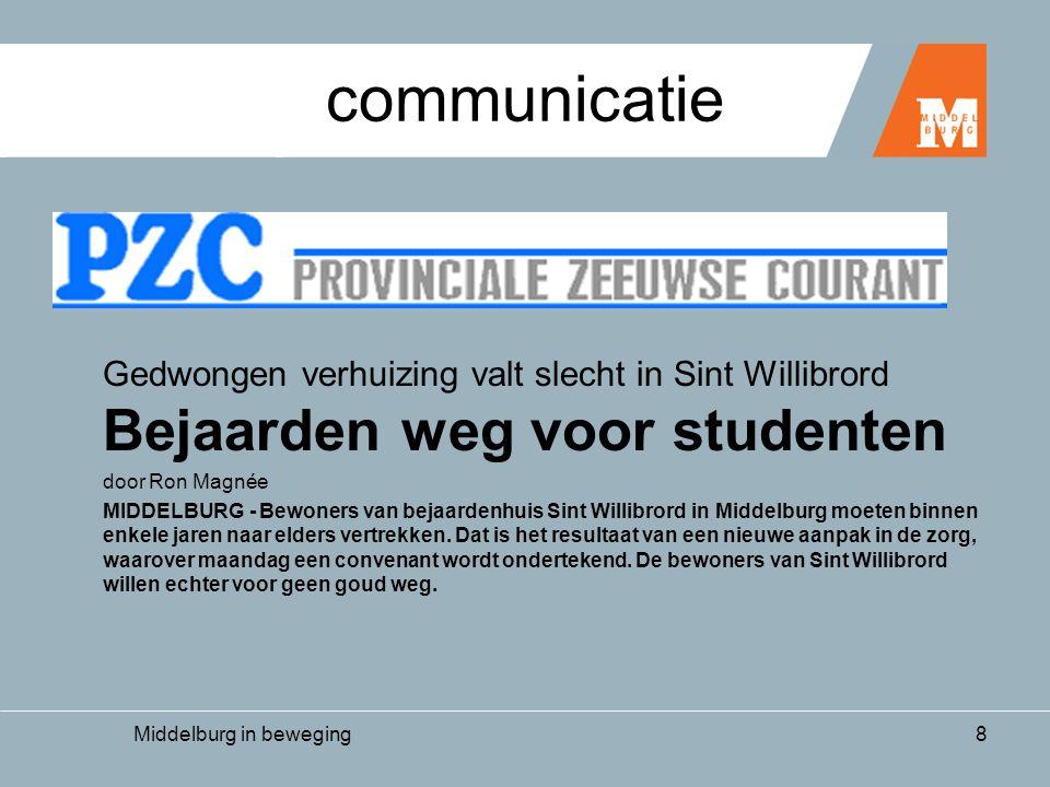 Middelburg in beweging8 communicatie Gedwongen verhuizing valt slecht in Sint Willibrord Bejaarden weg voor studenten door Ron Magnée MIDDELBURG - Bewoners van bejaardenhuis Sint Willibrord in Middelburg moeten binnen enkele jaren naar elders vertrekken.